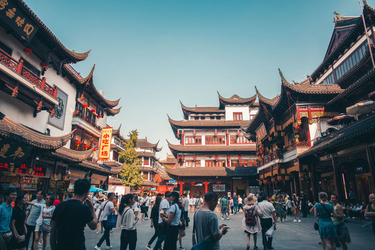 Courtyard of the City God Temple Complex Architecture Building Exterior Built Structure Crowd Large Group Of People Building Group Of People City Real People Sky Nature Day Women Men Travel Destinations Chinese Lantern