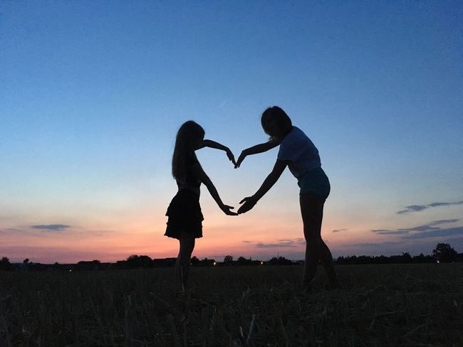 SiblingsLove❤ Field Sisters ❤ Child Two People Togetherness Silhouette Sunset Sky Love Emotion Positive Emotion Nature Side View Love Is Love Summer In The City A New Beginning