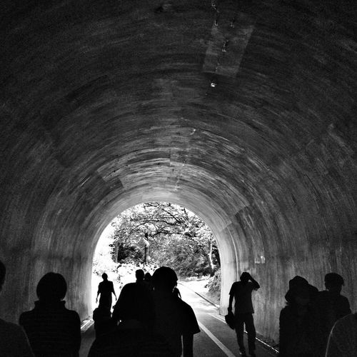 Tourists in tunnel