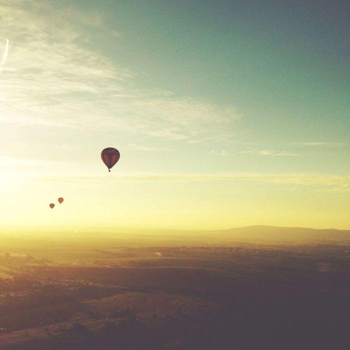 Hot air balloons against sky at dusk