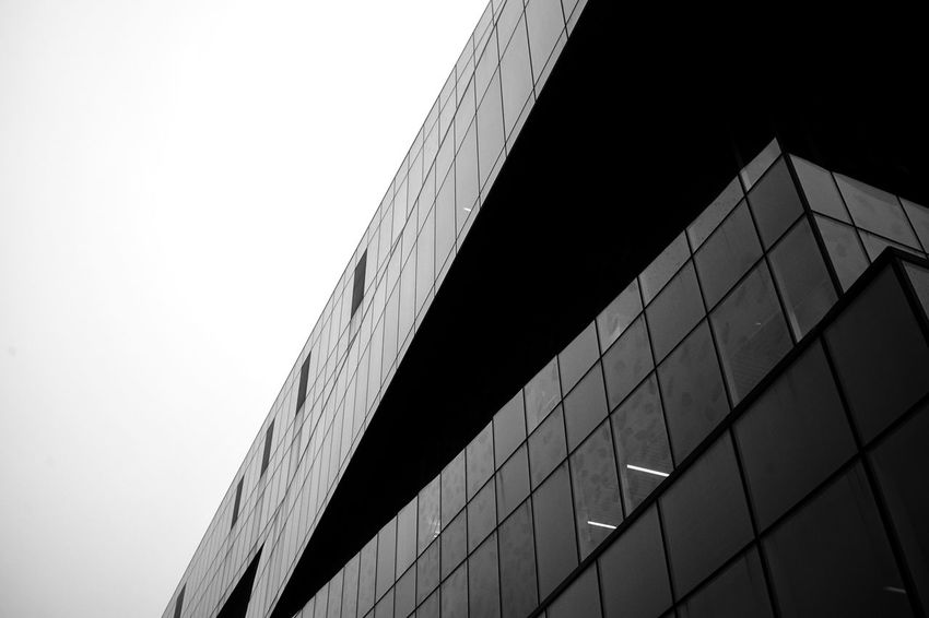 Black And White Liberary Built Structure Architecture Low Angle View Building Exterior Sky Clear Sky No People Building City Outdoors Day Office Building Exterior Modern