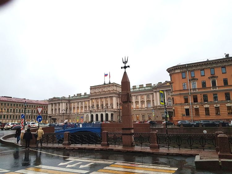 Mariinsky Palace and Moyka River. The palace was a gift from czar Nicolau I to his daughter Maria Russia Rainy Old Buildings Buildings Building St Petersburg Sankt-Petersburg Russian Architecture Old Town Moyka River River Streets City Politics And Government King - Royal Person Architecture Building Exterior Built Structure Palace History Historic Building