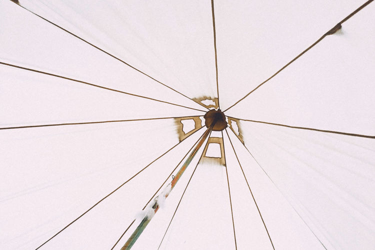 Low angle view of tent against clear sky