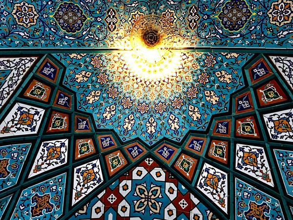Ceiling Architecture Window Pattern Indoors  Place Of Worship History Built Structure Multi Colored Religion Low Angle View Travel Destinations No People Day Architectural Design Close-up City Eyeemphotography EyeEm Gallery Eye4photography  Outdoor Photography Iran Illuminated Art And Craft Art Is Everywhere