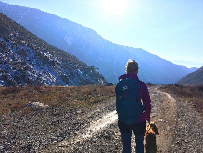 Go Higher Mansbestfriend Dog Utalaya Village Life Hikingadventures Hiking Mountain Real People Mountain Range Rear View Nature Lifestyles Beauty In Nature Hiking Backpack One Person Walking Tranquility Adventure Outdoors Leisure Activity Day Sky Landscape Go Higher Inner Power