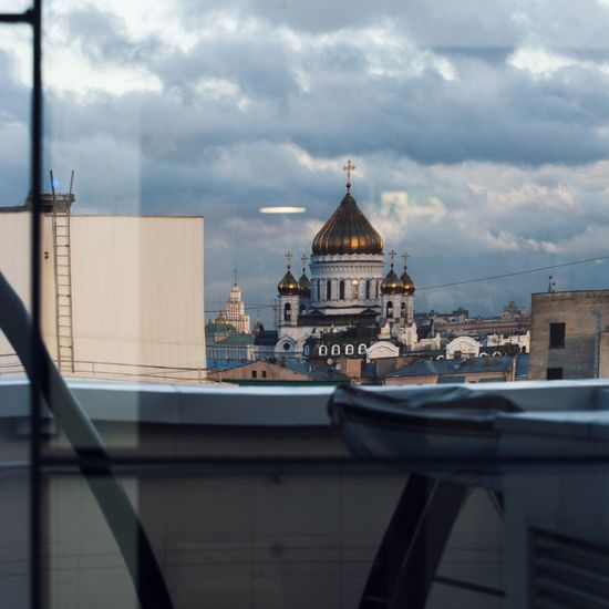 Run Architecture Cloud - Sky Built Structure Sky Building Exterior No People City Outdoors Cityscape Travel Destinations Day Urban Skyline Nature Religion Religious  Church Cathedral Moscow Exit Sign Exit Moscow City ХрамХристаСпасителя EyeEmNewHere Reflection Phylosophy