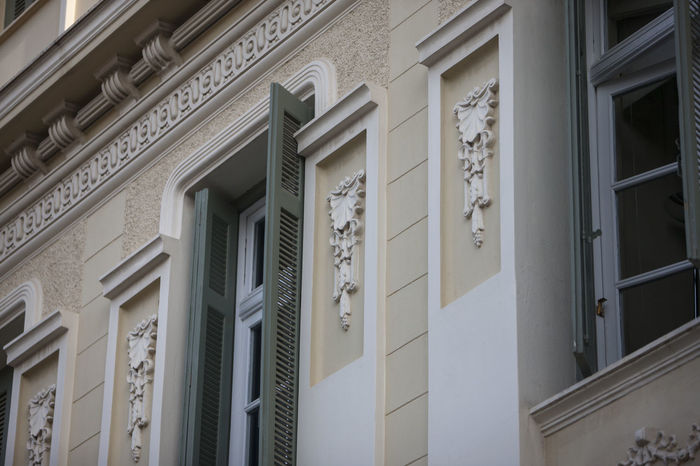 Apartment Architecture Athens Building Building Exterior Built Structure Communication Day Door House Low Angle View Neoclassical No People Outdoors Pattern Residential District Wall - Building Feature Window