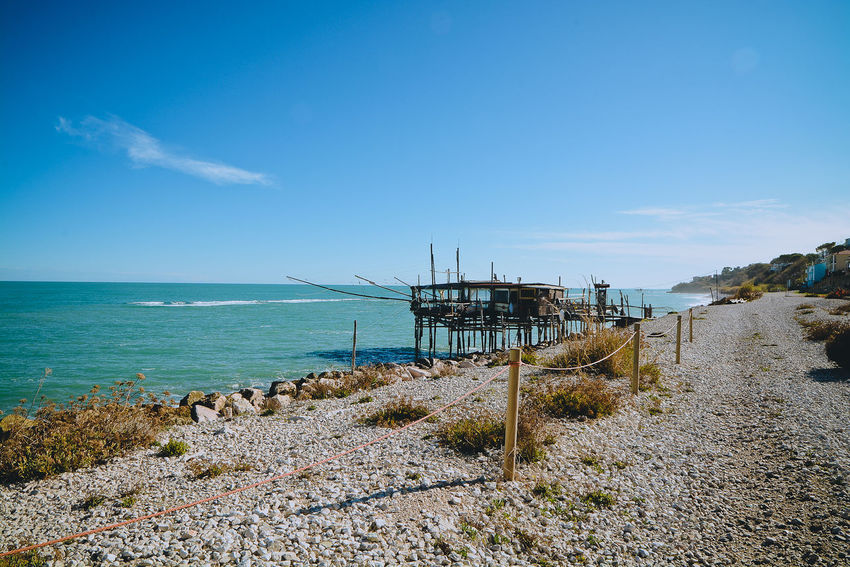 Architecture Beach Beauty In Nature Blue Built Structure Cloud - Sky Day Horizon Over Water Nature No People Outdoors Scenics Sea Sky Trabocchi Coast Trabocco Tranquility Water