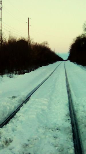 Close-up of tire tracks on snow covered field