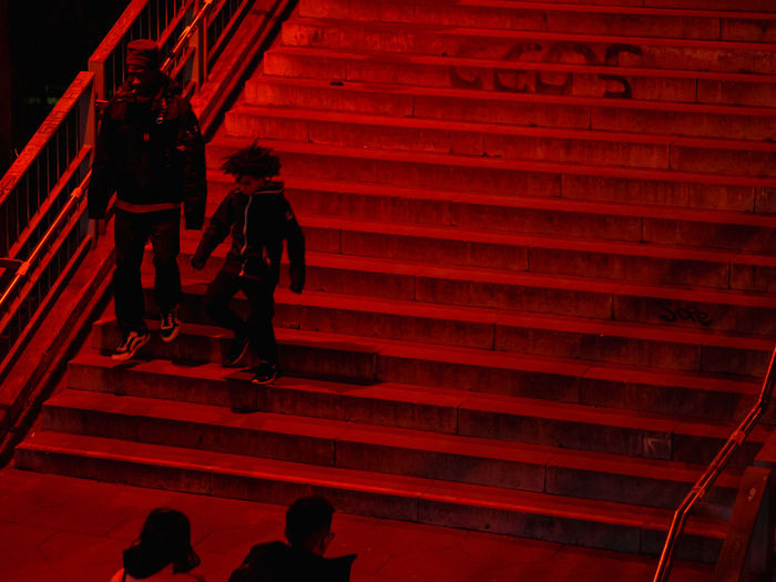 Architecture Staircase Steps And Staircases Real People Lifestyles Group Of People Men Women Built Structure Leisure Activity People Walking Adult Moving Up Railing The Way Forward Outdoors Father Son Red Night Dark Steps Bonding Togetherness