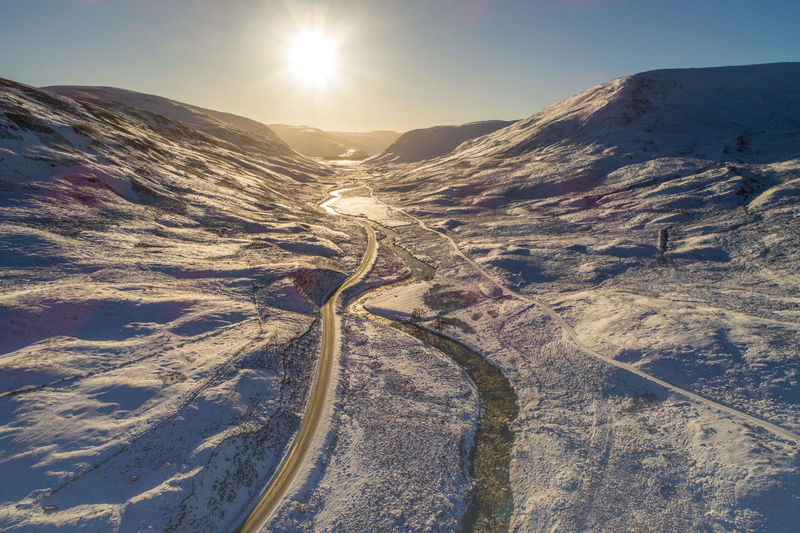 The snow road to Glenshee Aerial Shot Cairngorms National Park Drone  Glenshee Low Angle View Scotland Snow Scape Winter Driving Winterscapes Aerial Photography Aerial View Droneshot Snow Mountain Snow Road Winter Sun