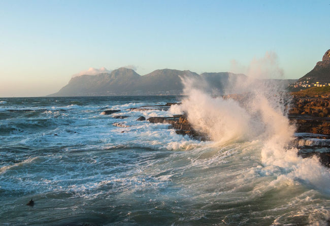 Sea Water Sky Beauty In Nature Motion Power In Nature Nature Power Scenics - Nature Clear Sky Wave Rock No People Hitting Day Rough Land Breaking Force Outdoors
