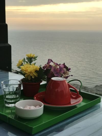 Close-up of flower vase on table against sea during sunset