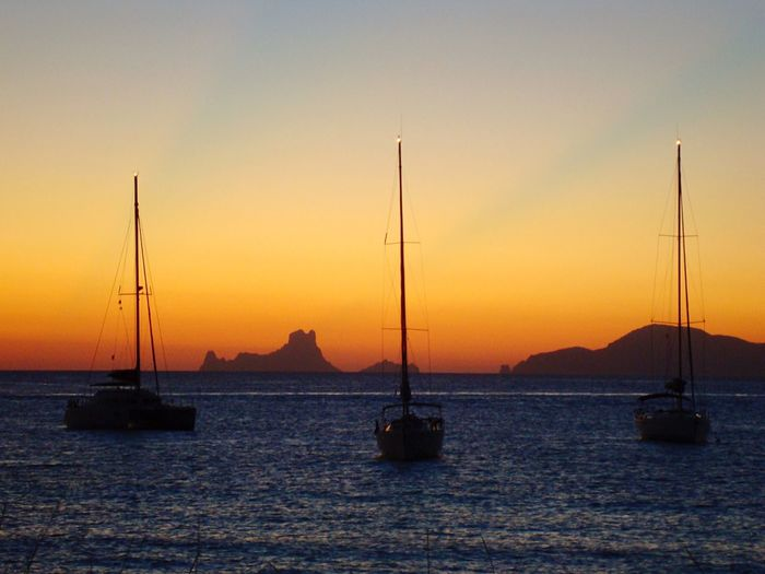 Sunset on Ibiza.. Silhouette Sailing Formentera Sunset Spaın SPAIN Ibiza Sky Nautical Vessel Water Transportation Orange Color Mode Of Transportation Sea Sailboat No People Waterfront Idyllic