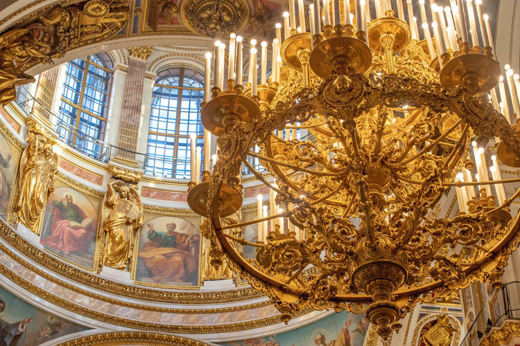 Architecture Built Structure Travel Destinations Indoors  Ornate No People Wealth Gold Colored Chandelier Luxury Lighting Equipment Travel History Arts Culture And Entertainment Art And Craft The Past Day City Window Ceiling Mural Russia Chruch