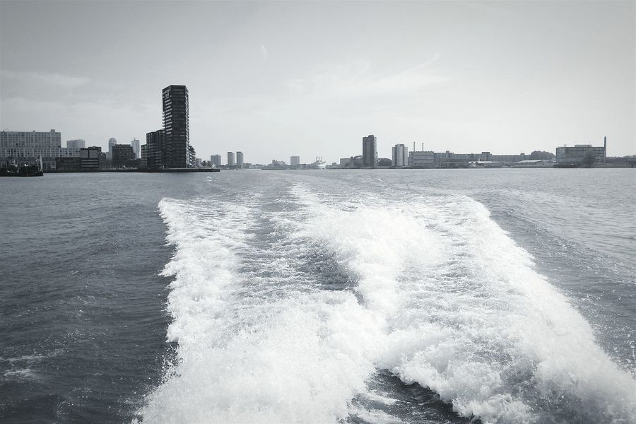 City view from running boat Cityscapes Urban Landscape Buildings Water Blackandwhite Bw_collection Monochrome EyeEm Best Shots - Black + White Eye4photography  I Love My City Photography In Motion Embrace Urban Life Welcome To Black