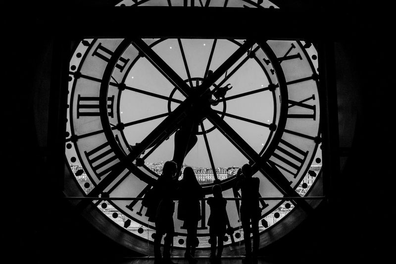 The clock of Musee D'orsay Orsay Travel Travel Photography Blackandwhite Blak And White Circle Clock Clock Face Day Europe Hour Hand Indoors  Leisure Activity Lifestyles Low Angle View Minute Hand Museum People Real People Roman Numeral Silhouette Standing Time Travel Destinations Women