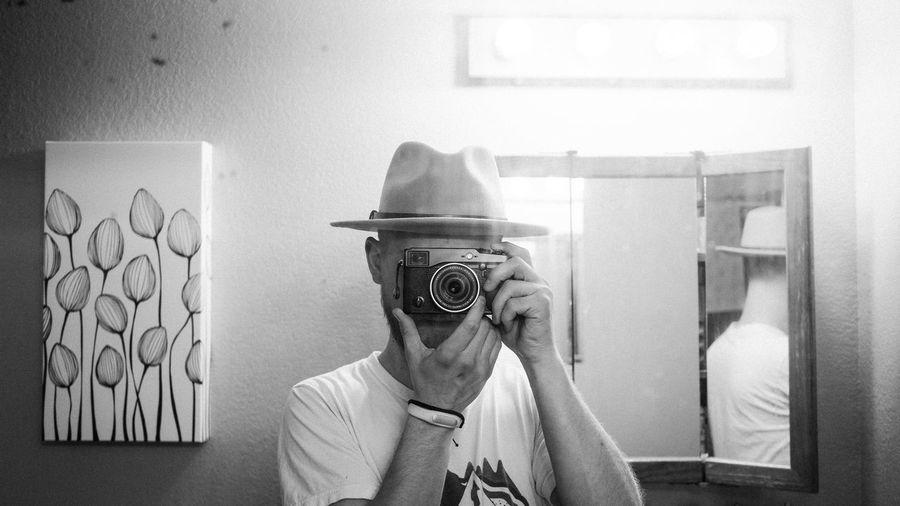mirrors Fuji Fujifilm Xpro1 Blackandwhite Classic Cinematic Hat Fedora  Photography Themes Portrait Camera Obscured Face Digital Camera Photographer Camera - Photographic Equipment Hiding