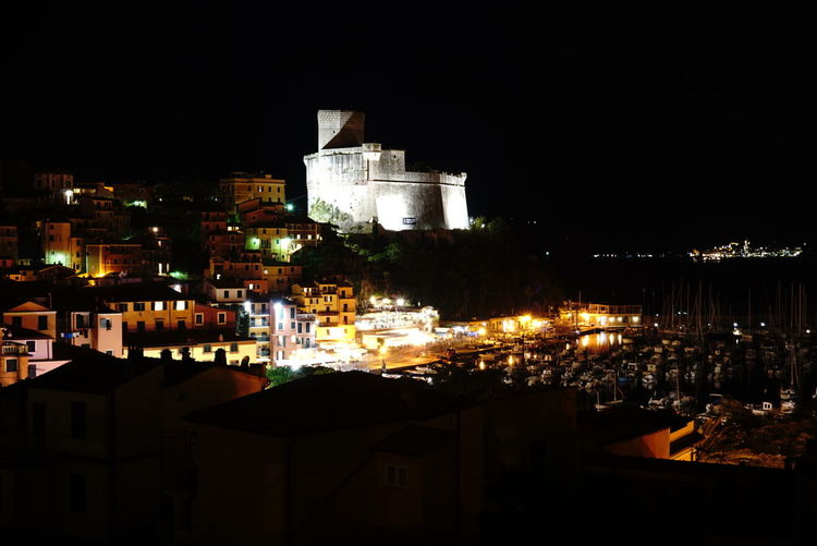 Italy Italia Lerici Castello Castle Long Exposure City Cityscape Illuminated Business Finance And Industry Architecture Building Exterior Sky Built Structure Urban Skyline Downtown District TOWNSCAPE Rooftop Light Trail