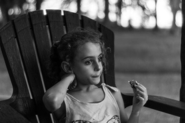 Thinking Girl Field Outdoors Blackandwhite Thoughtful Childhood Child Portrait One Person Girls Females Front View