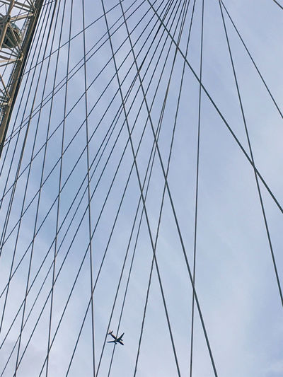 aeroplane fly Aeroplane London London Eye Abstract Architecture Blue Sky Cable Day Low Angle View Nature No People Outdoors Sky