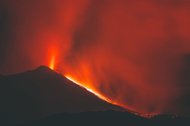 Volcano Etna eruption Etna Sicily Catania Volcano Mountain Geology Erupting Power In Nature Power Heat - Temperature Lava Burning Beauty In Nature Environment No People Active Volcano Nature Night Fire Warning Sign Landscape Outdoors Volcanic Crater Flowing Mountain Peak