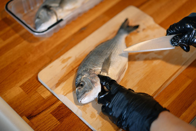 High angle view of person cleaning fish on kitchen counter