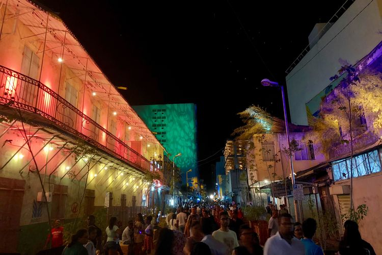 Porlwi by night. Port-Louis, Capital city of Mauritius, Indian Ocean Night Illuminated Group Of People Architecture Crowd Built Structure Adventures In The City City Life Travel Destinations Adventures In The City