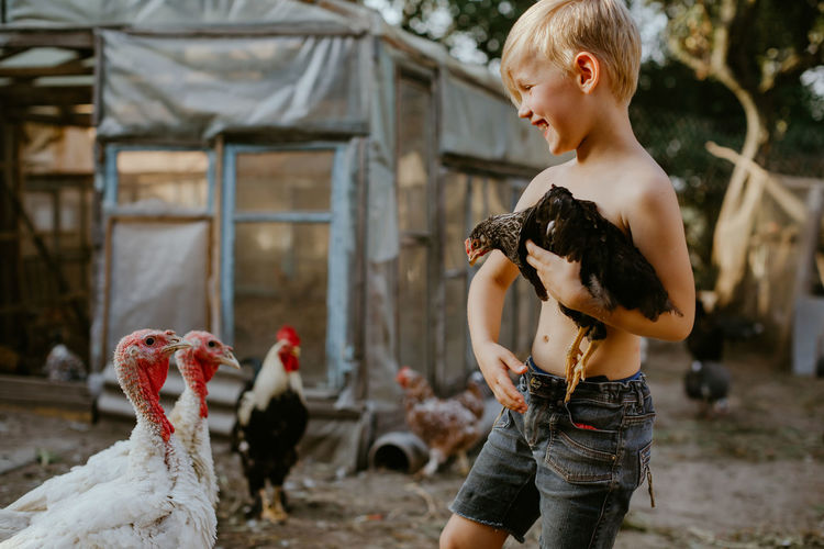 Shirtless boy holding chicken while standing outdoors