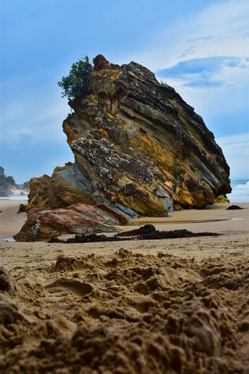Secret Beach, Mallacoota. Beach Beauty In Nature Sand Sun Blue Sky Summer Coastline Sea Waves Surf Rock Formation Rugged Low Angle View Mallacoota Travel Destination Colours Nature EyeEm Best Shots EyeEm Nature Lover Land Scenics - Nature Water Tranquility Sky