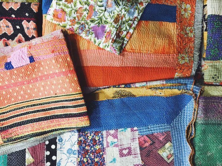 jaipur, india in rajasthan Arrangement Backgrounds Blankets Close-up Clothing Colorful Full Frame India Indoors  Jaipur Multi Colored No People Quilt Recycled Art Retail  Textiles Woven