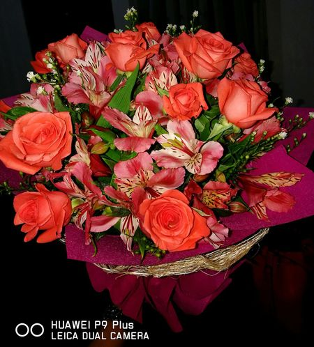 Goodmorning ♥ Roses🌹 Boquet Of Flowers Orange Flowers Surprise❤️❤️ Close-up Happy Me 😁 I Love It ❤ Happiness