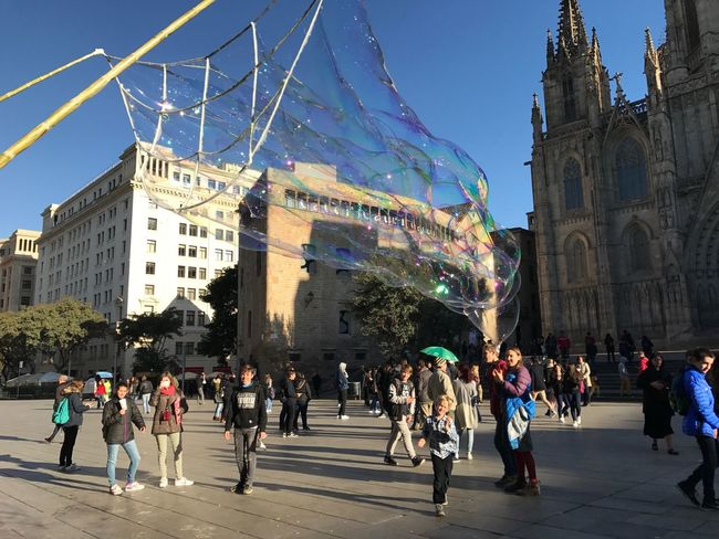 in front of the cathedral Barcelona Blue Catedral Cathedral City Felicidad History Kids Niños People Sky Soap Bubbles Square Sun