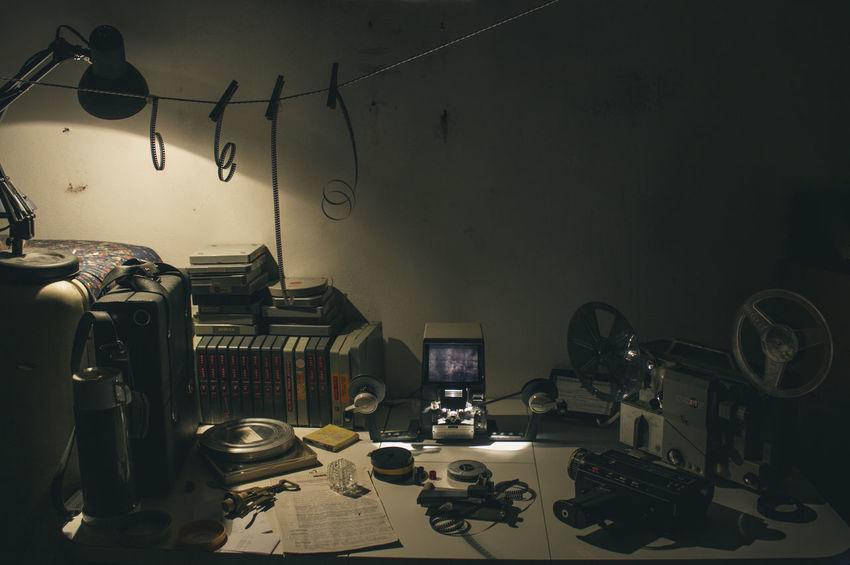 The Filmmaker's Desk Cinematic Desk Film Office Retro Film Maker Film Makers Filmaker Indoors  Laboratory Picture Technology Video Vintage Working Space