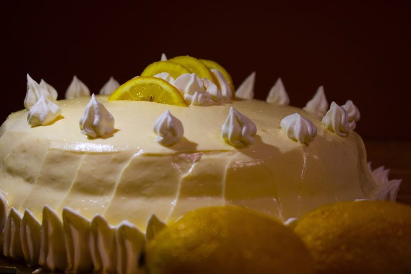 DeliziaAlLimone Cake Food And Drink Close-up Food Food And Drink No People Indulgence SLICE Freshness Yellow Dessert Temptation Ready-to-eat Unhealthy Eating Melting Sweet Food Cream Indoors  Day (null)Limone Crema Spong Cake Pandispagna