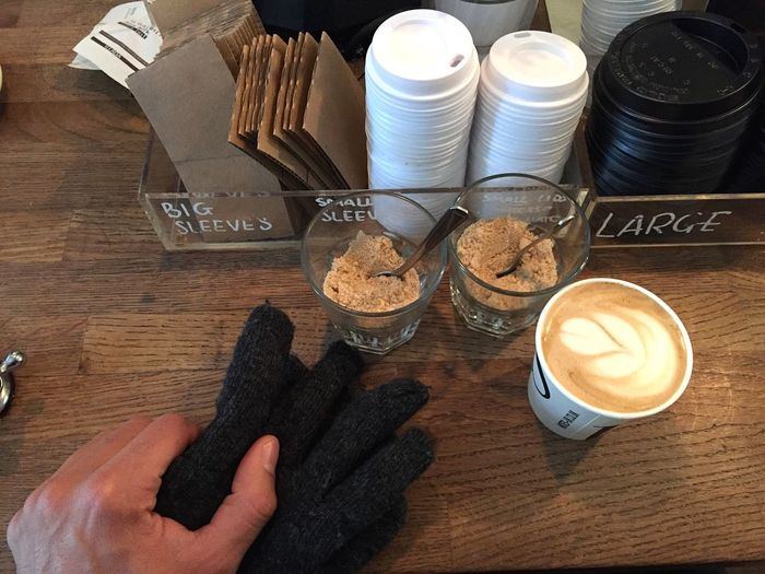 Coffee Lids Takeaway Togo Soyamilk Leaf Pattern Hand Gloves Flat White Sugar