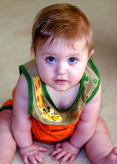 portrait of an adorable baby boy looking at the camera Baby Happy Sitting Boy Childhood Close-up Cute Indoors  Innocence Kid Looking At Camera Male One Person People Portrait Real People Wide Eyes