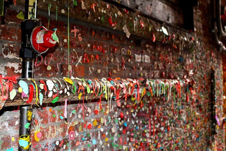 Messy Graffiti Wall Of Chewed Bubble Gum