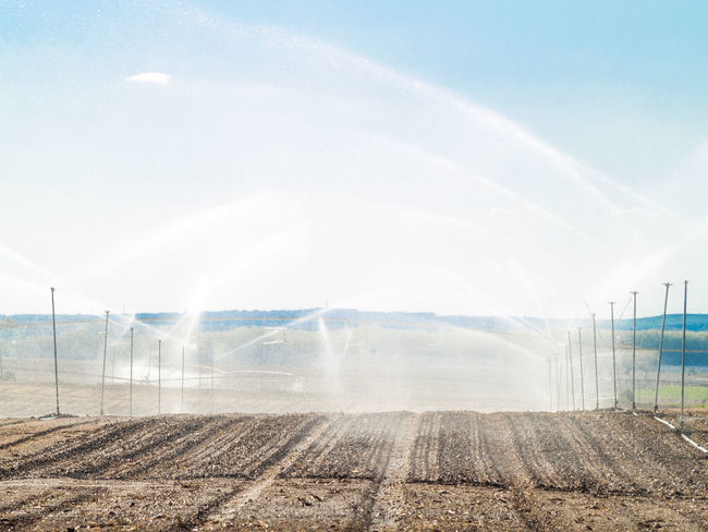 Agricultural Land Agriculture Agriculture Photography Cornfield Crop  Day Ground Irrigation Irrigation Equipment Irrigation System Landscape Nature Outdoors Pipeline Pipelines Sky Spraying Sprinkler Sprinkles Water Water Droplets Water Drops Water Pipe Watering