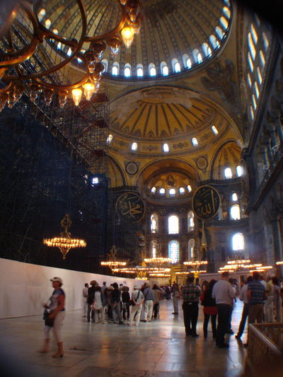 Inside the magnificent Hagia Sophia , Istanbul Ancient Architecture Built Structure Byzantine Architecture Cavernous Ceiling Discoveries Hagia Sophia Hanging Huge Expanse Illuminated Indoors  Lit Up Ornate Place Of Worship Travel Destinations