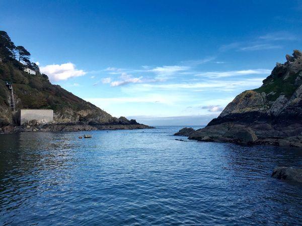 Blue Sky Blue Sea Idyllic Cornish Coast Cornish Village Harbour Cliffs Seaside October2015 Gazing Out To Sea