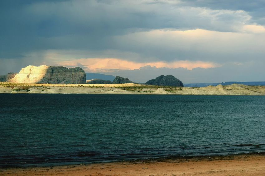 Lake Powell monsoon storm Storm Cloud Lake Arizona Sunset City Urban Skyline Sky Cloud - Sky Shore Sand Beach Sandy Beach FootPrint Horizon Over Water