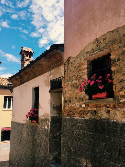 Pink flowers on a window-sill, Italy. Blue Sky Chimney Italian Building Italian Street Narrow Street No People Pink Flowers Pink Wall Summer Sky  Textures Wall Texture Windowsill