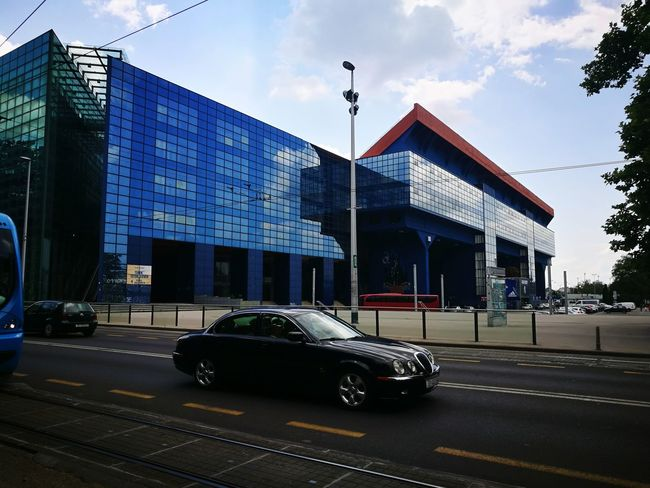 Town JAGUAR City Road Asphalt White Line Speed Comfort Zagreb, Croatia Croatia I Love My Car Center Sport Arena Black Car Townview TOWNSCAPE Office Building Blue Buildings Car Architecture Built Structure Building Exterior Roadways Road Marking #urbanana: The Urban Playground Summer In The City