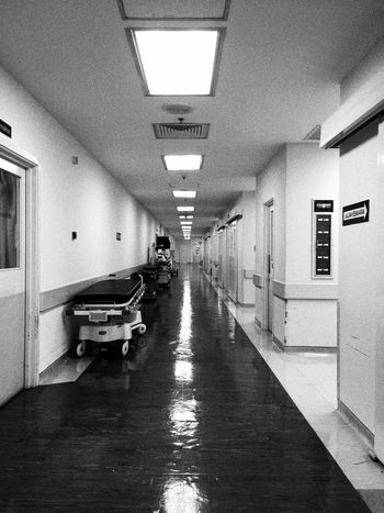 Operating Theatre Surgeryroom Bed Corridor View Surgery Black And White Light And Shadow Reflection No People
