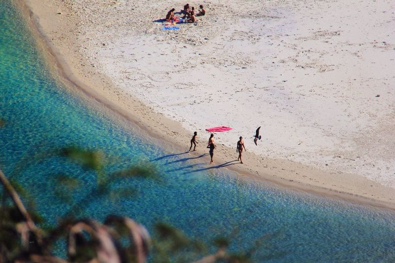 High Angle View Of People Walking At Beach