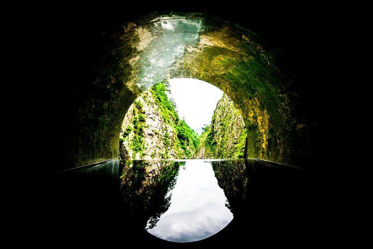 そして、誰もいなくなった。 Tunnel Water Nature Plant Reflection Tree No People Outdoors Green Color Direction Lake Architecture The Way Forward Sky Day Beauty In Nature Tranquility Shape Floating On Water