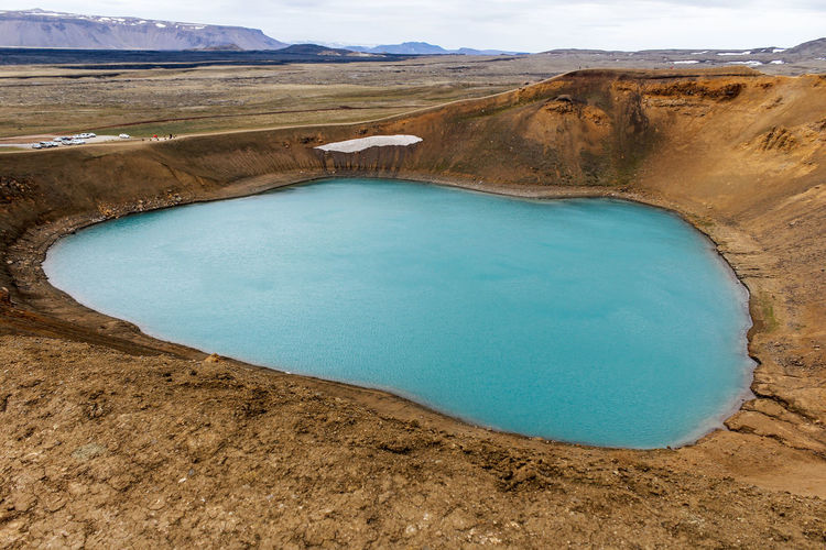 Icleand Beauty In Nature Day Environment Geology High Angle View Iceland_collection Krafla Viti Lagoon Lake Land Landscape Mountain Nature Outdoors Physical Geography Power In Nature Scenics - Nature Tranquil Scene Tranquility Travel Destinations Turquoise Colored Volcanic Crater Vulcanic Landscape Water