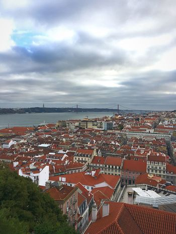 Architecture Building Exterior Sky Built Structure High Angle View Outdoors Roof No People Cloud - Sky Day Town Travel Destination Travel Photography Travel Castle Lisbon Lisboa Portugal City Water Cityscape Nature Tiled Roof