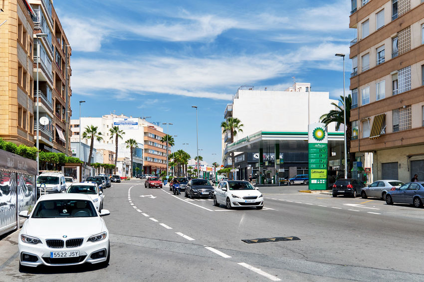 Torrevieja, Spain - May 19, 2018: Street of Torrevieja city. Costa Blanca. Spain Alicante Province Spain Asphalt Road SPAIN Torrevieja Torrevieja, Spain Architecture Building Building Exterior Built Structure Car City City Street Cloud - Sky Highrise Land Vehicle Mode Of Transportation Motor Vehicle Outdoors Residential District Road Roadside Sky Street Transportation